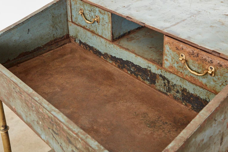 19th Century English Iron Bronze Industrial Davenport Desk For Sale 12