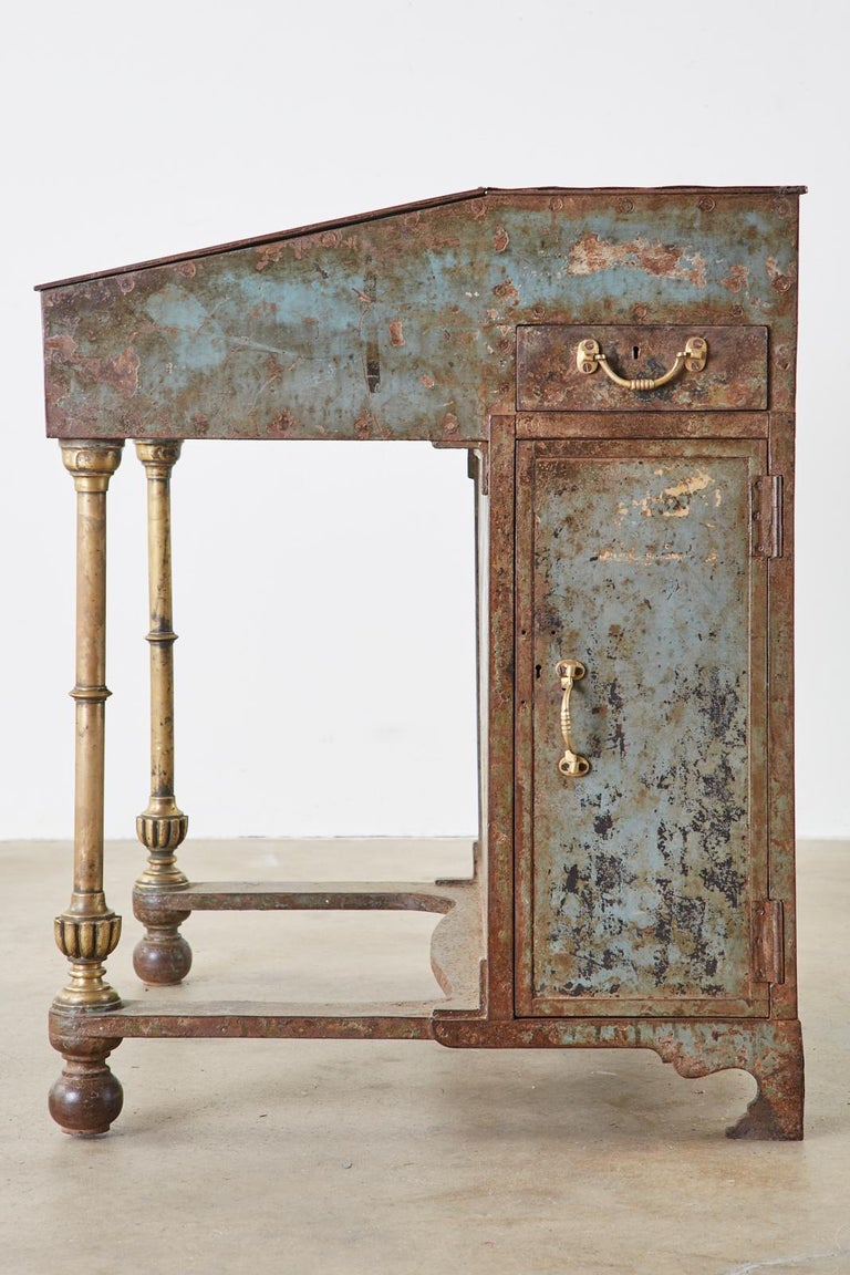 19th Century English Iron Bronze Industrial Davenport Desk In Distressed Condition For Sale In Oakland, CA