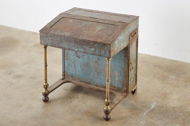 19th Century English Iron Bronze Industrial Davenport Desk For Sale 2