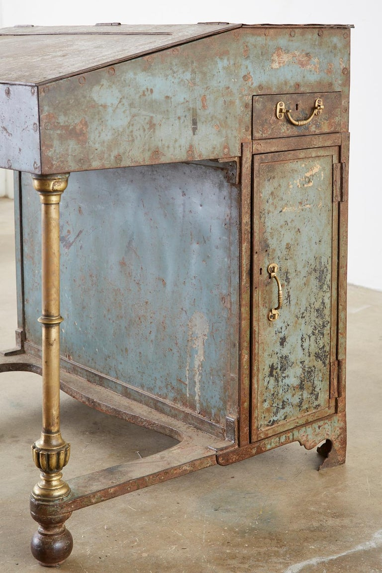 19th Century English Iron Bronze Industrial Davenport Desk For Sale 3