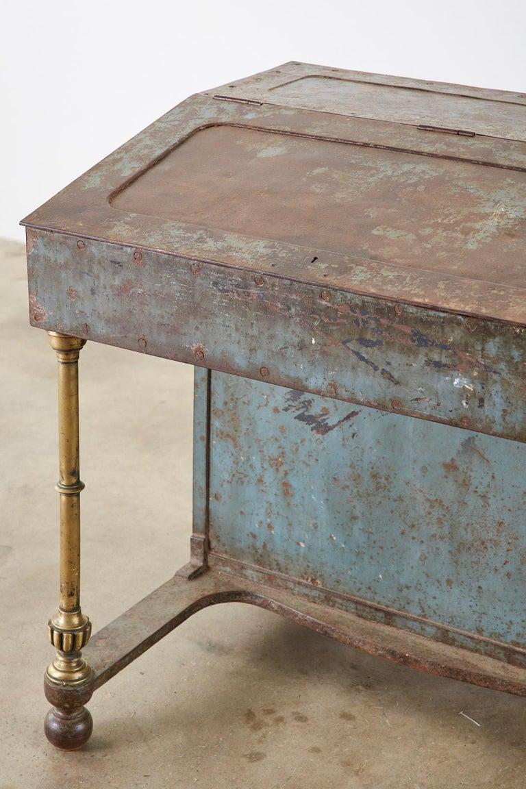 19th Century English Iron Bronze Industrial Davenport Desk For Sale 4