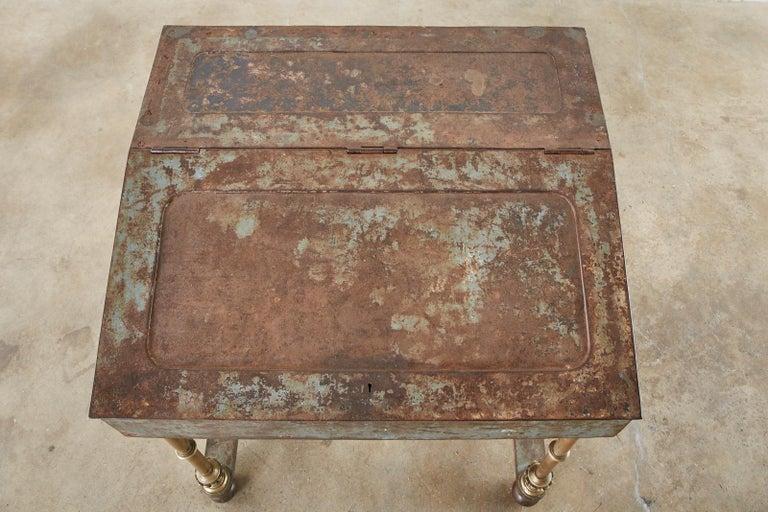 19th Century English Iron Bronze Industrial Davenport Desk For Sale 5