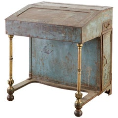 19th Century English Iron Bronze Industrial Davenport Desk