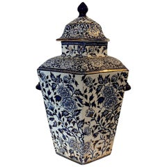 19th Century English Ironstone Porcelain Lidded Hexagonal Potpourri Vase