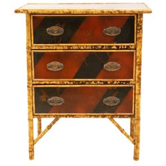 19th Century English Japanned and Burnished Bamboo Chest of Three Drawers