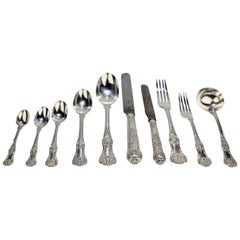 19th Century English Kings Pattern Sterling Silver 112 Piece Flatware Set for 12