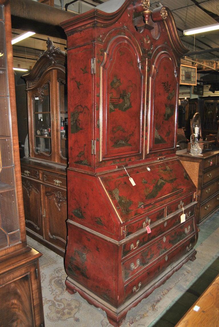 19th Century English Lacquered Gilt Chinoisoire Bookcase Secretary or Desk For Sale 5