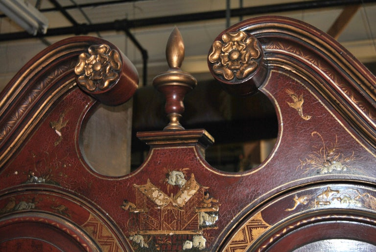 19th Century English Lacquered Gilt Chinoisoire Bookcase Secretary or Desk For Sale 6