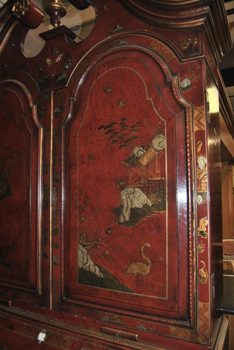 19th Century English Lacquered Gilt Chinoisoire Bookcase Secretary or Desk For Sale 7