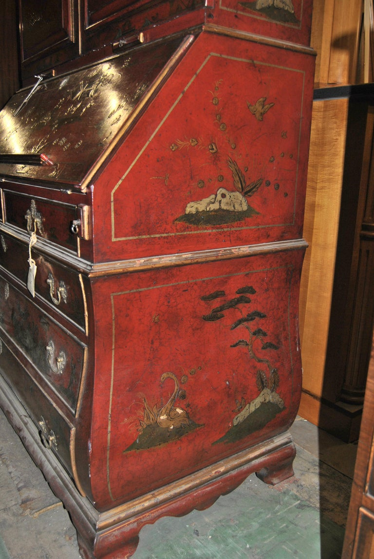19th Century English Lacquered Gilt Chinoisoire Bookcase Secretary or Desk For Sale 9