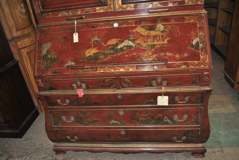 19th Century English Lacquered Gilt Chinoisoire Bookcase Secretary or Desk For Sale 2