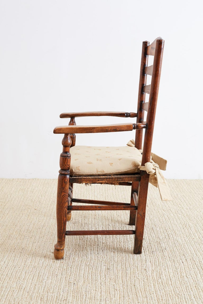 Hand-Woven 19th Century English Ladder Back Chair For Sale