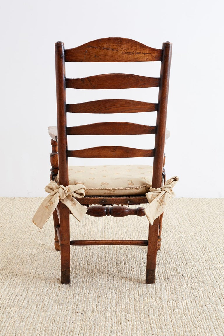 Wood 19th Century English Ladder Back Chair For Sale