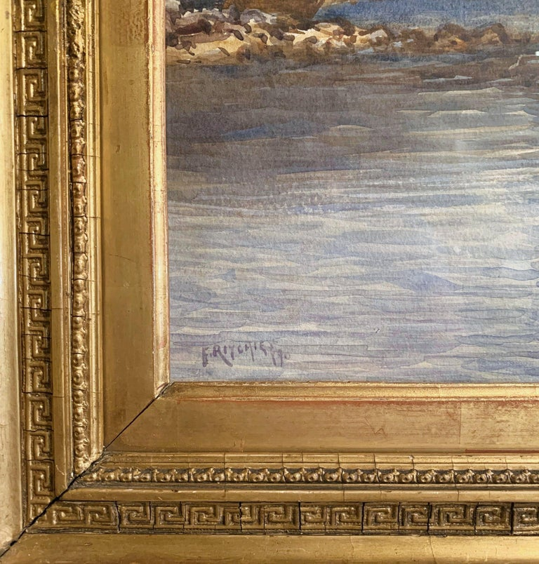 Hand-Carved 19th Century English Landscape Watercolor in Gilt Frame Signed F. Ritchie, 1890 For Sale