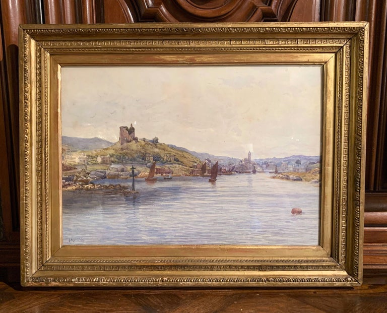 19th Century English Landscape Watercolor in Gilt Frame Signed F. Ritchie, 1890 In Excellent Condition For Sale In Dallas, TX