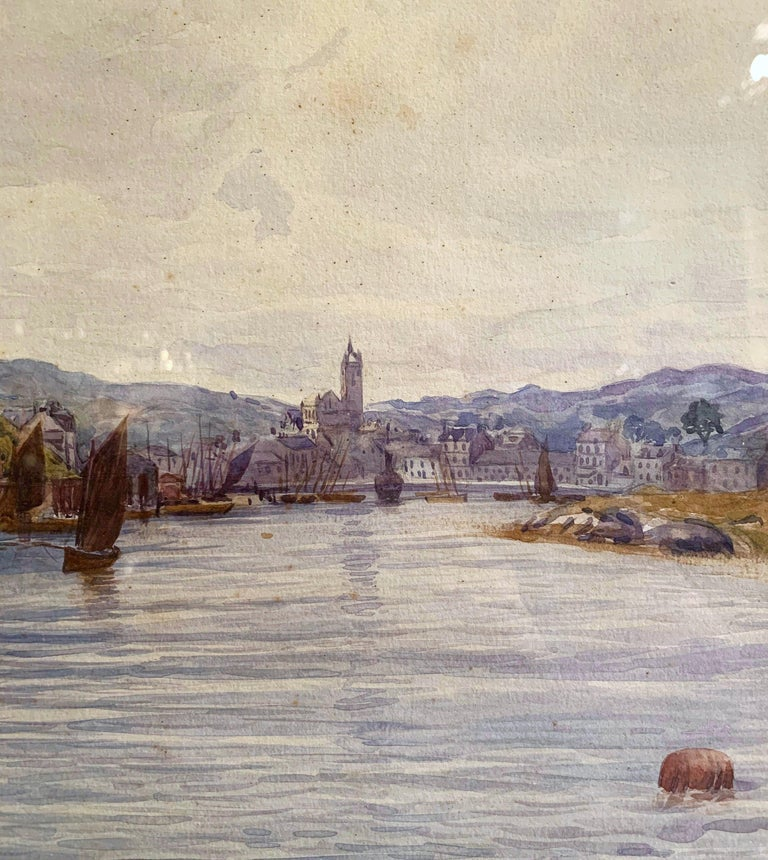 19th Century English Landscape Watercolor in Gilt Frame Signed F. Ritchie, 1890 For Sale 1