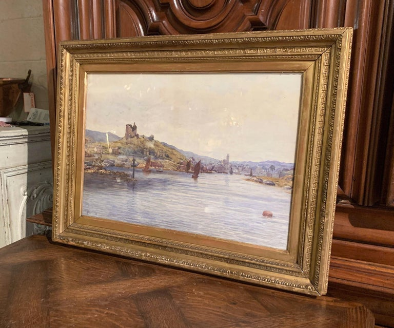 19th Century English Landscape Watercolor in Gilt Frame Signed F. Ritchie, 1890 For Sale 2