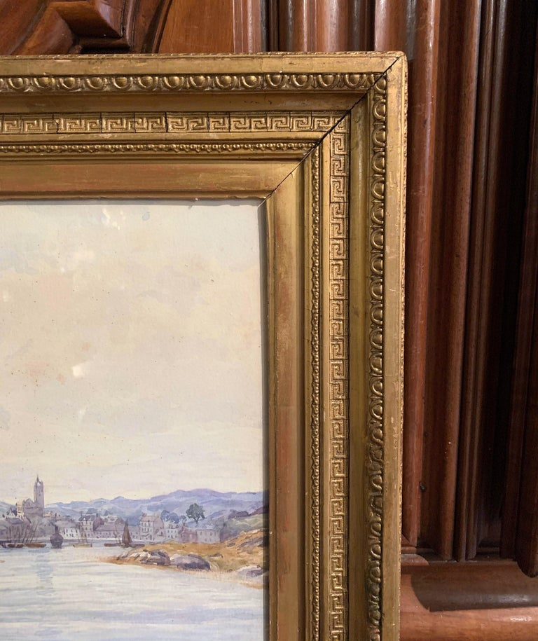 19th Century English Landscape Watercolor in Gilt Frame Signed F. Ritchie, 1890 For Sale 3