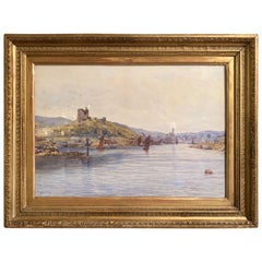 19th Century English Landscape Watercolor in Gilt Frame Signed F. Ritchie, 1890