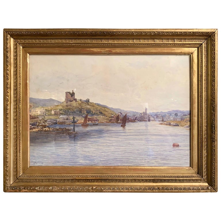 19th Century English Landscape Watercolor in Gilt Frame Signed F. Ritchie, 1890 For Sale