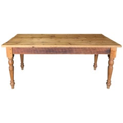19th Century English Large Scrubbed Pine Farmhouse Dining Table