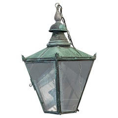 19th Century English Large Verdigris Glazed Lantern