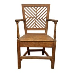19th Century English Lattice-Back Armchair