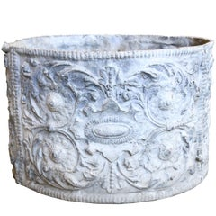 19th Century English Lead Planter with Renaissance Cartouche Relief Design