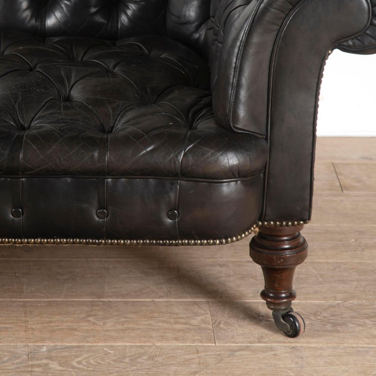 Mahogany 19th Century English Leather Chesterfield For Sale