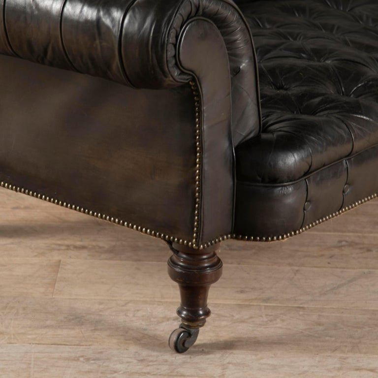 19th Century English Leather Chesterfield For Sale 1