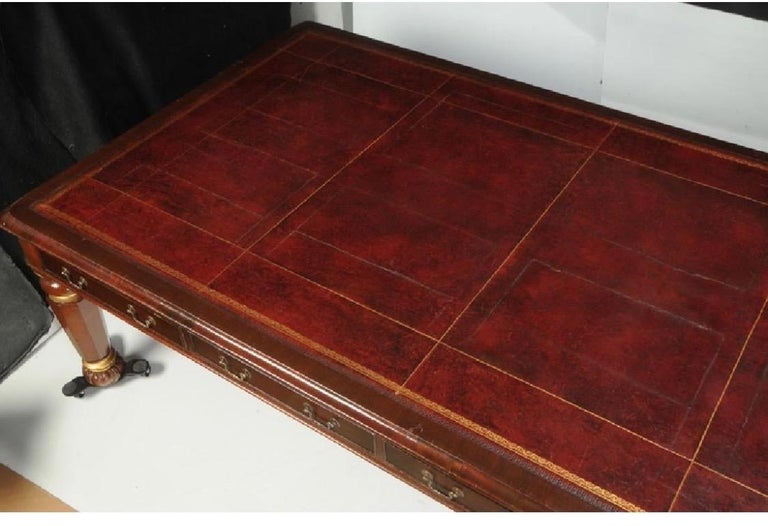 19th Century English Leather Top Mahogany Executive Conference Table In Good Condition For Sale In Charleston, SC