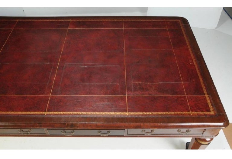 19th Century English Leather Top Mahogany Executive Conference Table For Sale 1