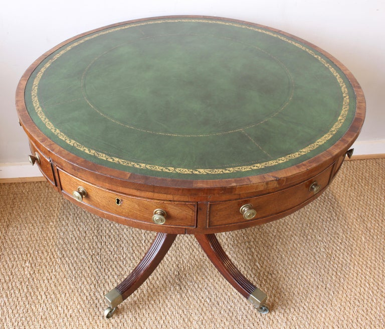 19th Century English Leather Topped Drum Table For Sale 1