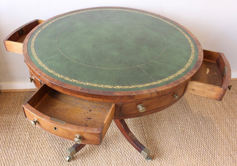 19th Century English Leather Topped Drum Table For Sale 2