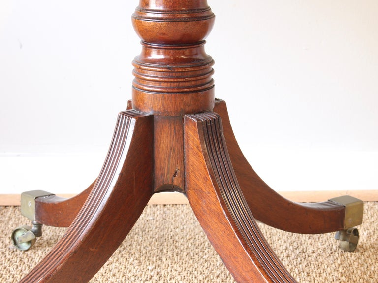 19th Century English Leather Topped Drum Table For Sale 3