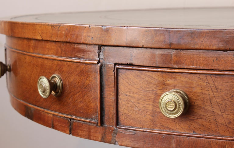 19th Century English Leather Topped Drum Table For Sale 4