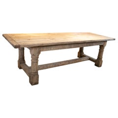 19th Century English Lime Washed Wood Rustic Dinning Table with Crossbeam Legs
