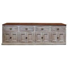 19th Century English Limewashed Pine Counter / Dresser Base / Sideboard