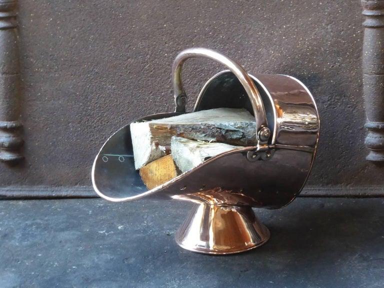 Copper 19th Century English Log Holder or Log Basket For Sale