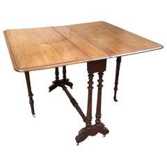 19th Century English Mahogany Adjustable Table on Wheels, 1890s