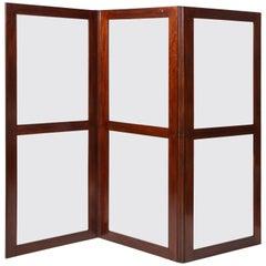 19th Century English Mahogany and Glass Three-Fold Screen