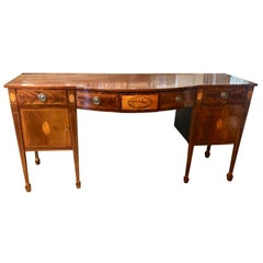 19th Century English Mahogany and Marquetry Large Scaled Sideboard