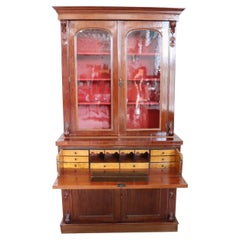 19th Century English Mahogany Antique Cabinet with Writing Desk