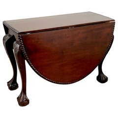 19th Century English Mahogany Ball & Claw Foot Tuck Away Dining Room Table