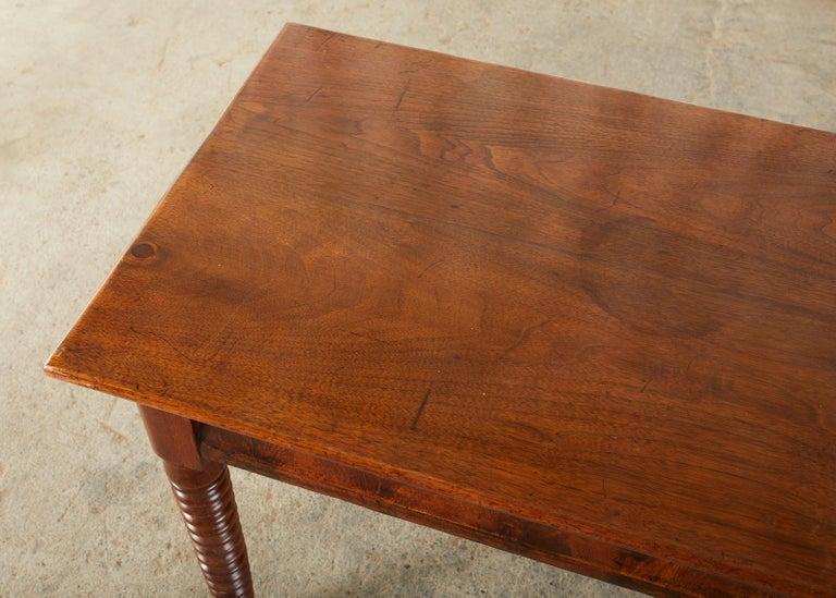19th Century English Mahogany Bobbin Leg Console Table For Sale 7
