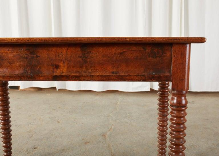 19th Century English Mahogany Bobbin Leg Console Table For Sale 8