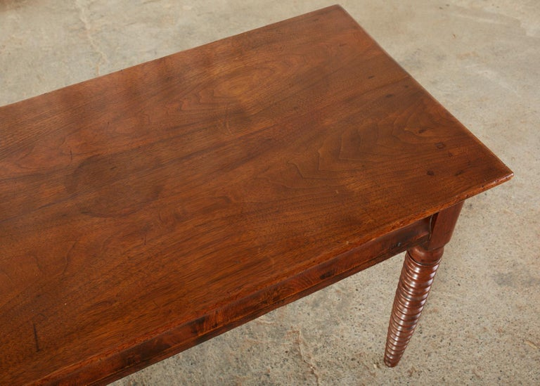 19th Century English Mahogany Bobbin Leg Console Table For Sale 9