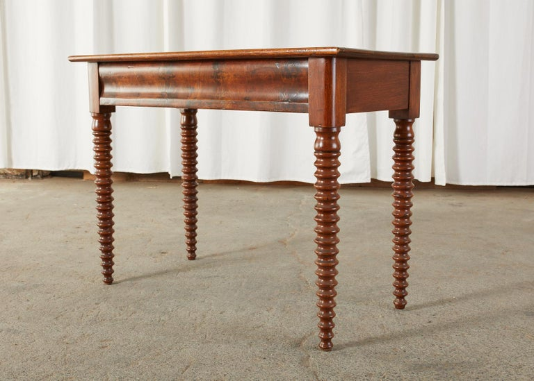 Hand-Crafted 19th Century English Mahogany Bobbin Leg Console Table For Sale
