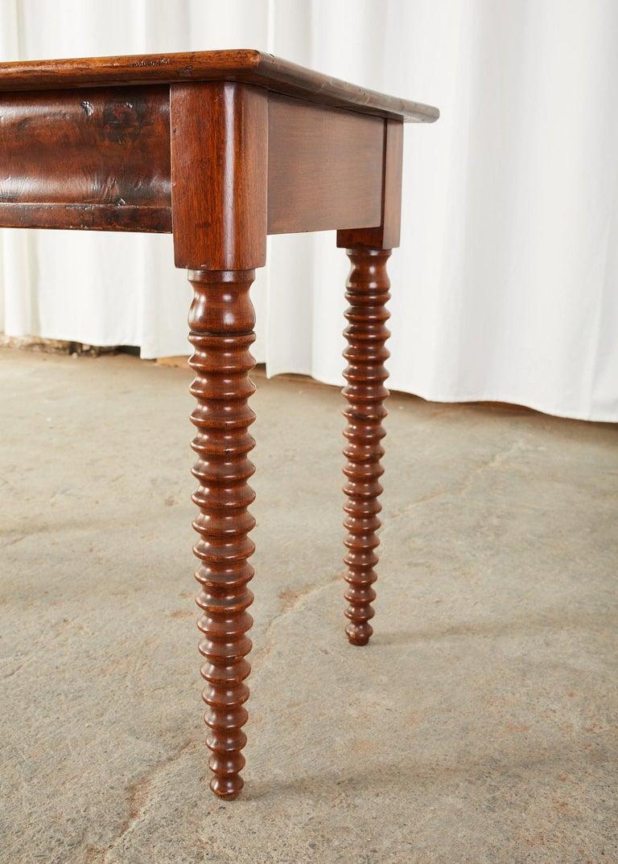 19th Century English Mahogany Bobbin Leg Console Table For Sale 1