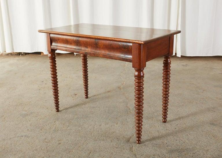 19th Century English Mahogany Bobbin Leg Console Table For Sale 2